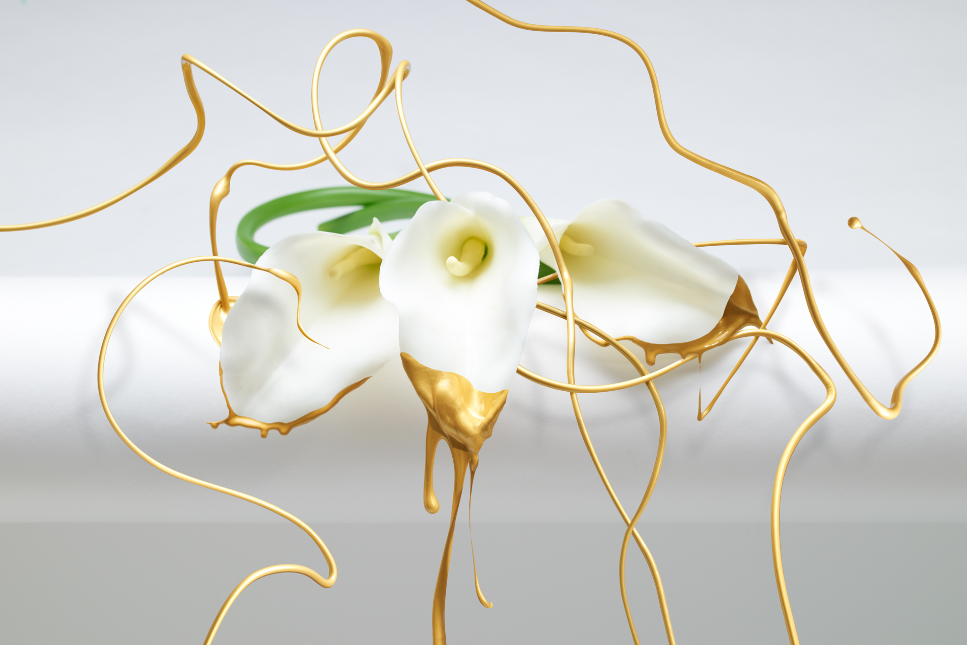 Calla Lily Gold Paint Splash