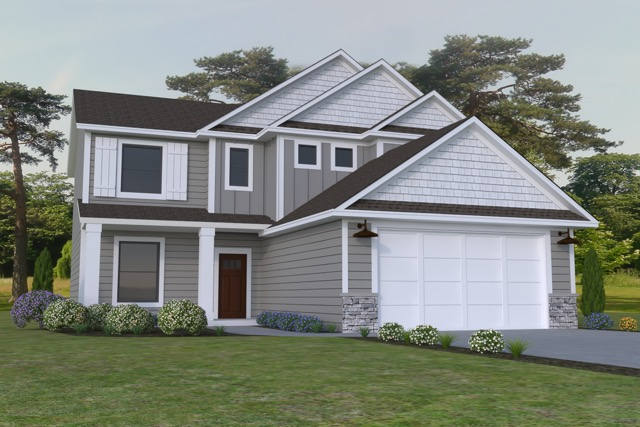 The Grace - Our 2 story slab villa design features 2240 square feet of finished living space. Premium lots have 8 foot extended garage options and 12x12 covered porch or 4 season morning room options available.