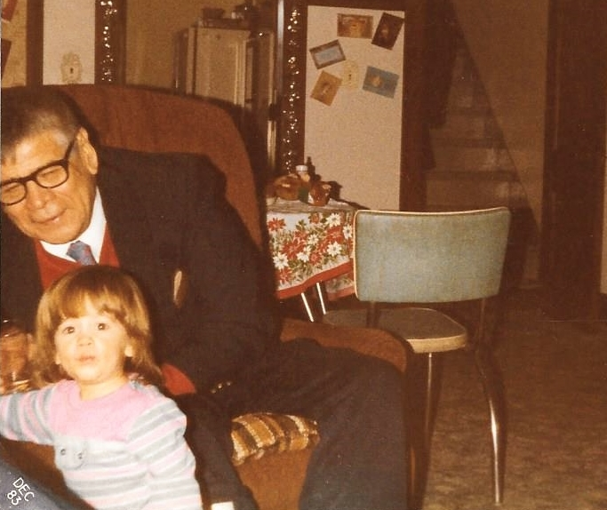 Grandpa (Mishomis) LaPointe and me - December 1983.