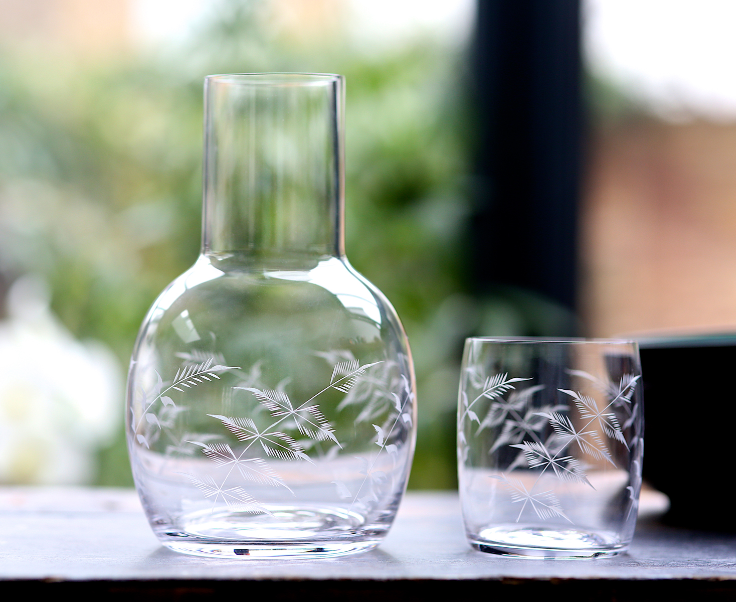 CARAFES   With accompanying glass, the carafe is perfect for bedside tables.