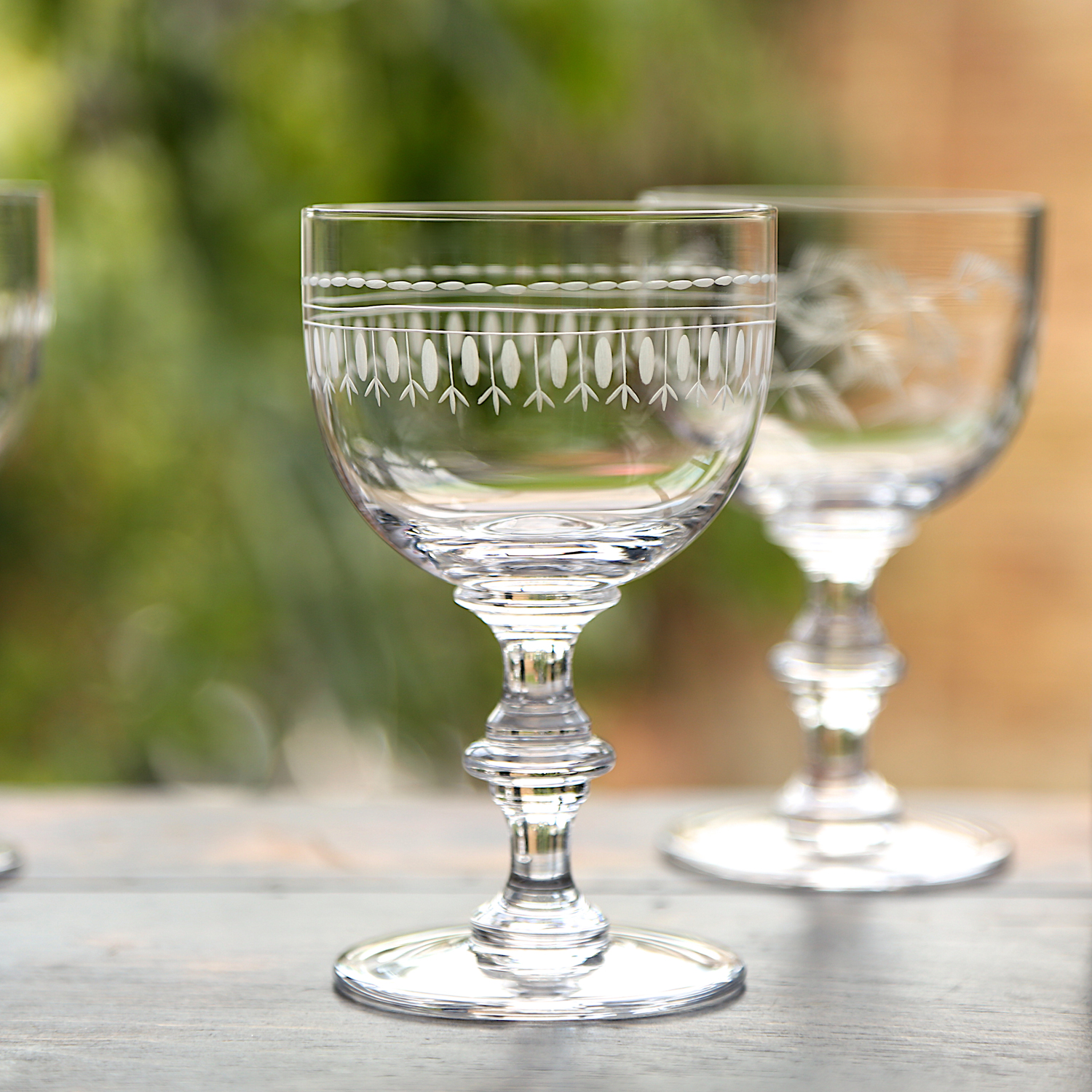 WINE GOBLETS   This glass has a sturdy, baluster stem and a much more delicate bowl.