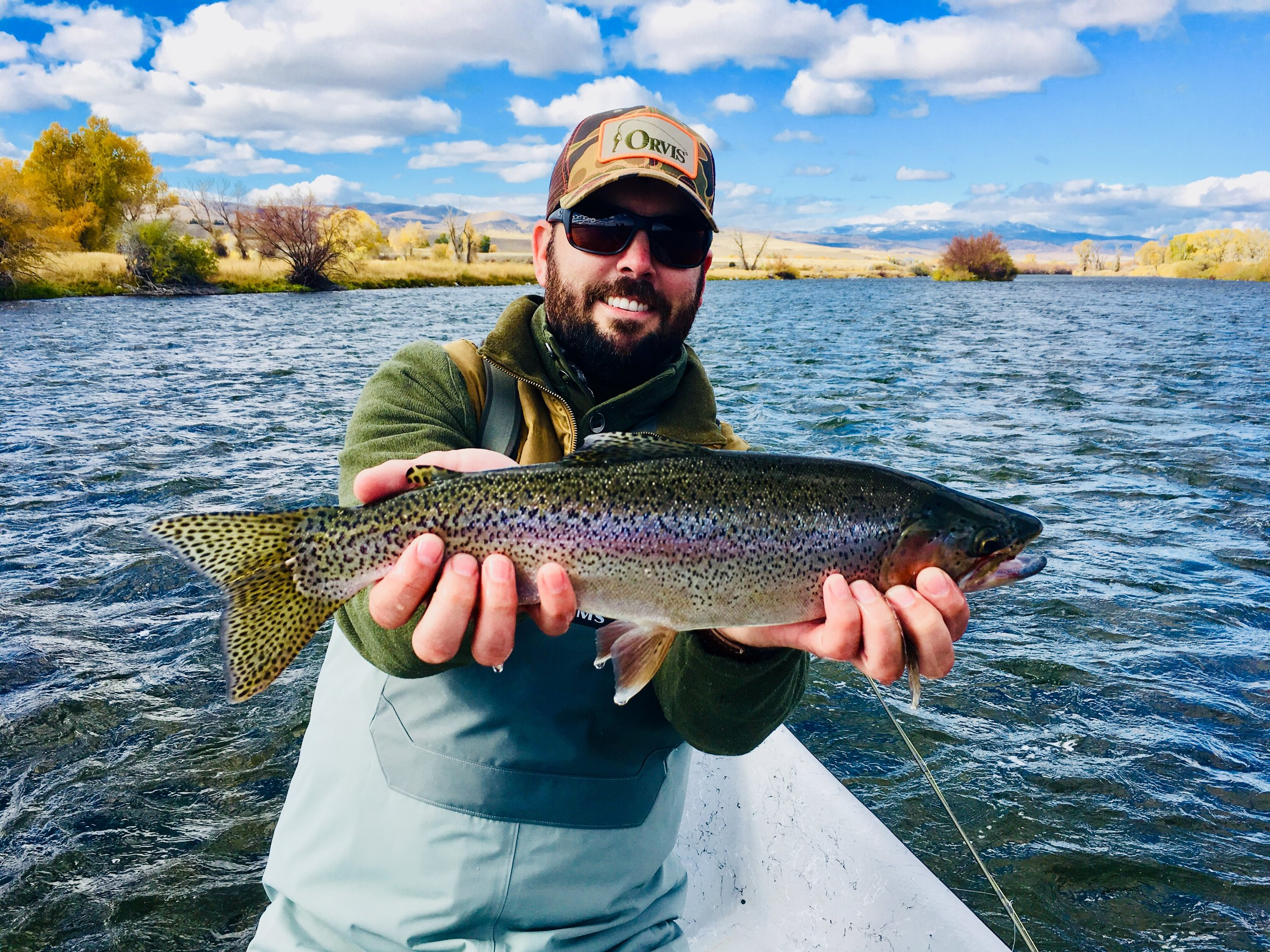 Ryan Bauke with a Madison River Rainbow Trout