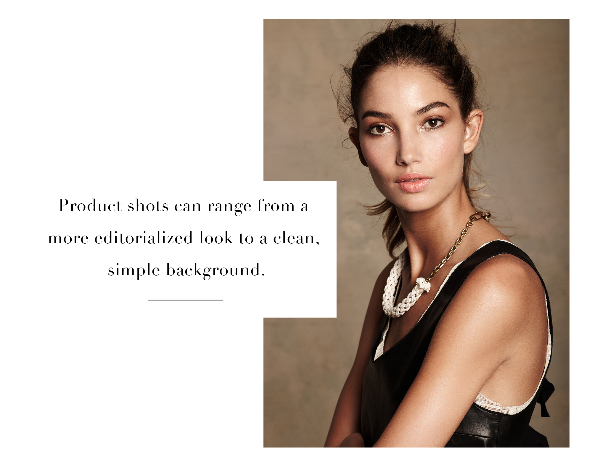 editorialized product photography for vogue magazine of model with leather top and necklace shot on a canvas background