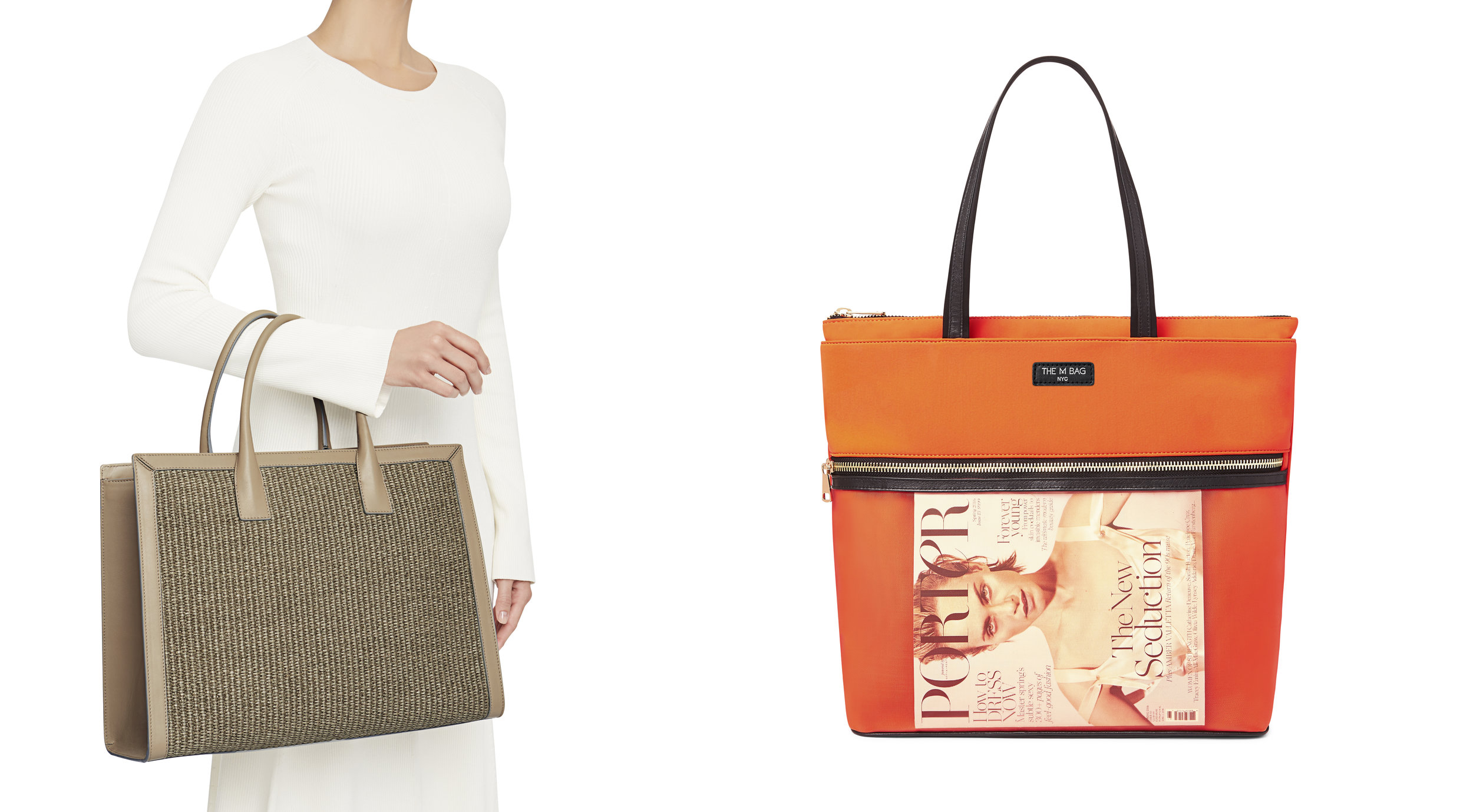 Using models or props can be instrumental in giving context or scale to a product image, as well as adding some personality, as seen in this e-commerce imagery from  The M Bag