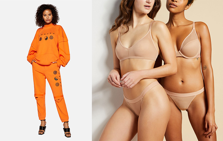 KITH  (left image)  has a clean, crisp approach to product-on-white. Negative Underwear (right), finds success with more editorialized sales imagery.