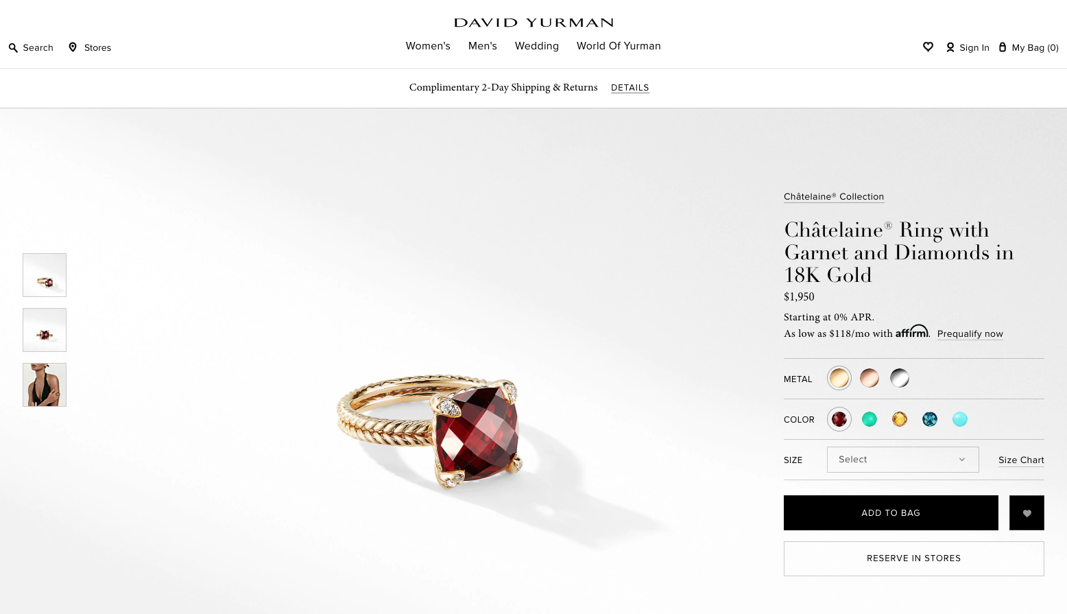 David Yurman has a unique approach to lighting, and clearly invests in the scaling shots, a very important feature for fine jewelry product detail pages.