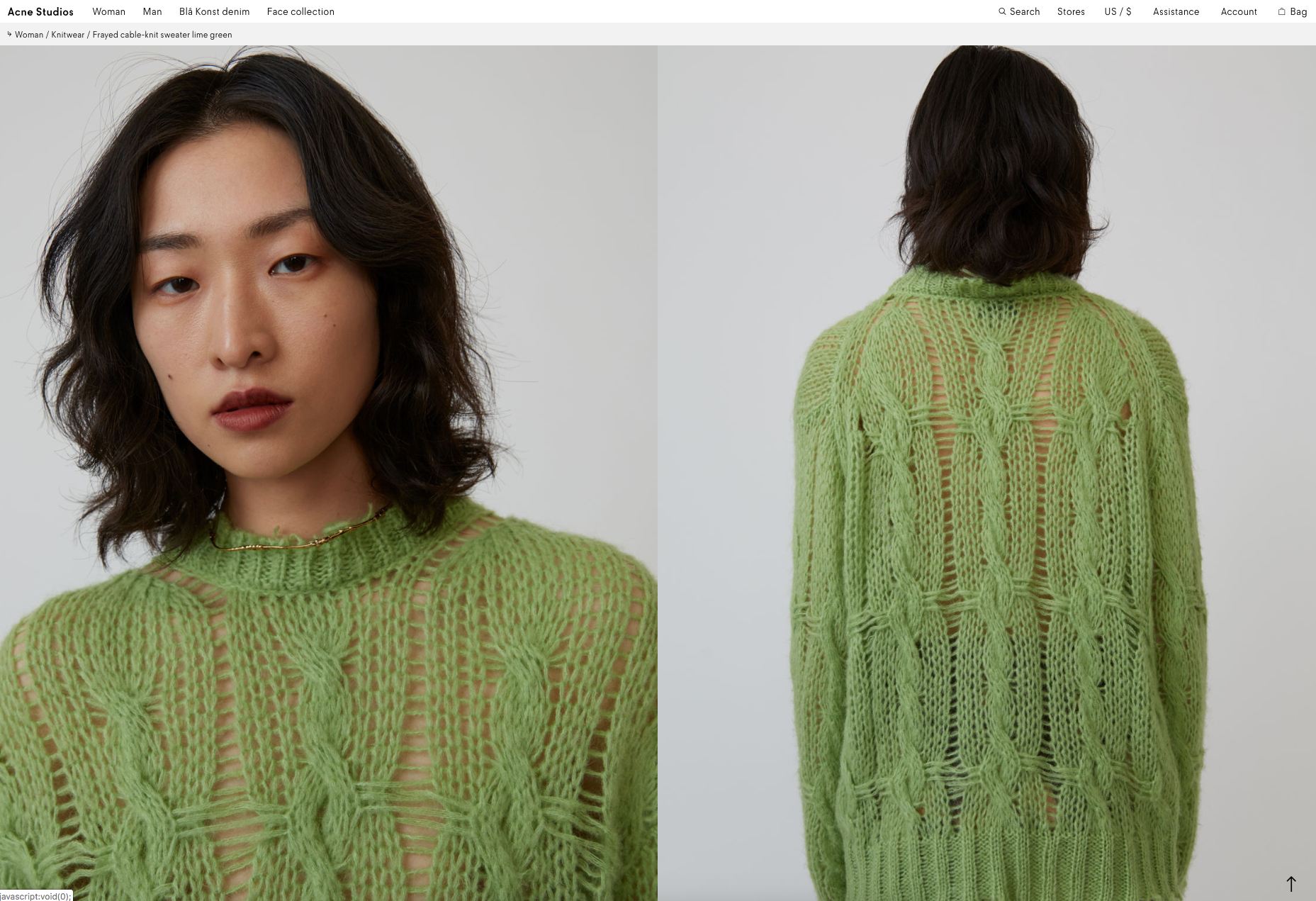 Click on the video to visit Acne's Product Detail Page