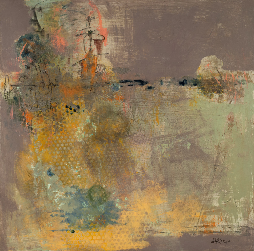 Joan Huiner Ranzini, Cantilever Variation in Lavender, acrylic, graphite and paper on panel