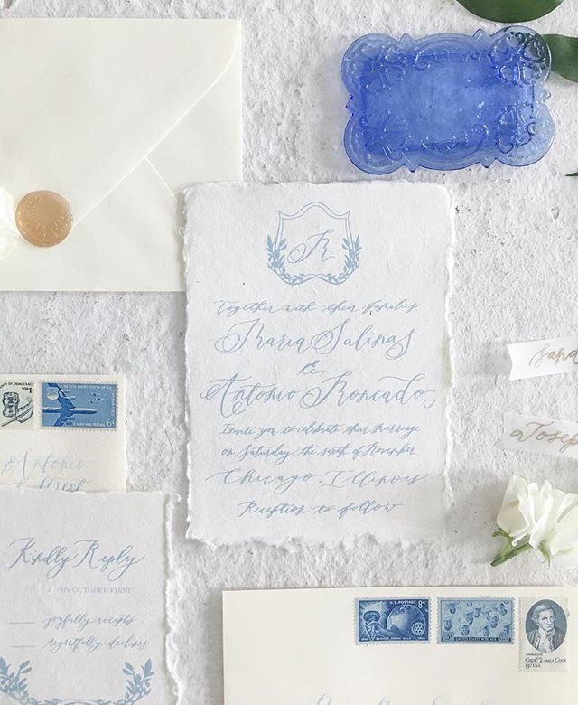Love how these custom invited turned out! Dusty blue is always a favorite! #rlcalligraphy #rebecalynnart