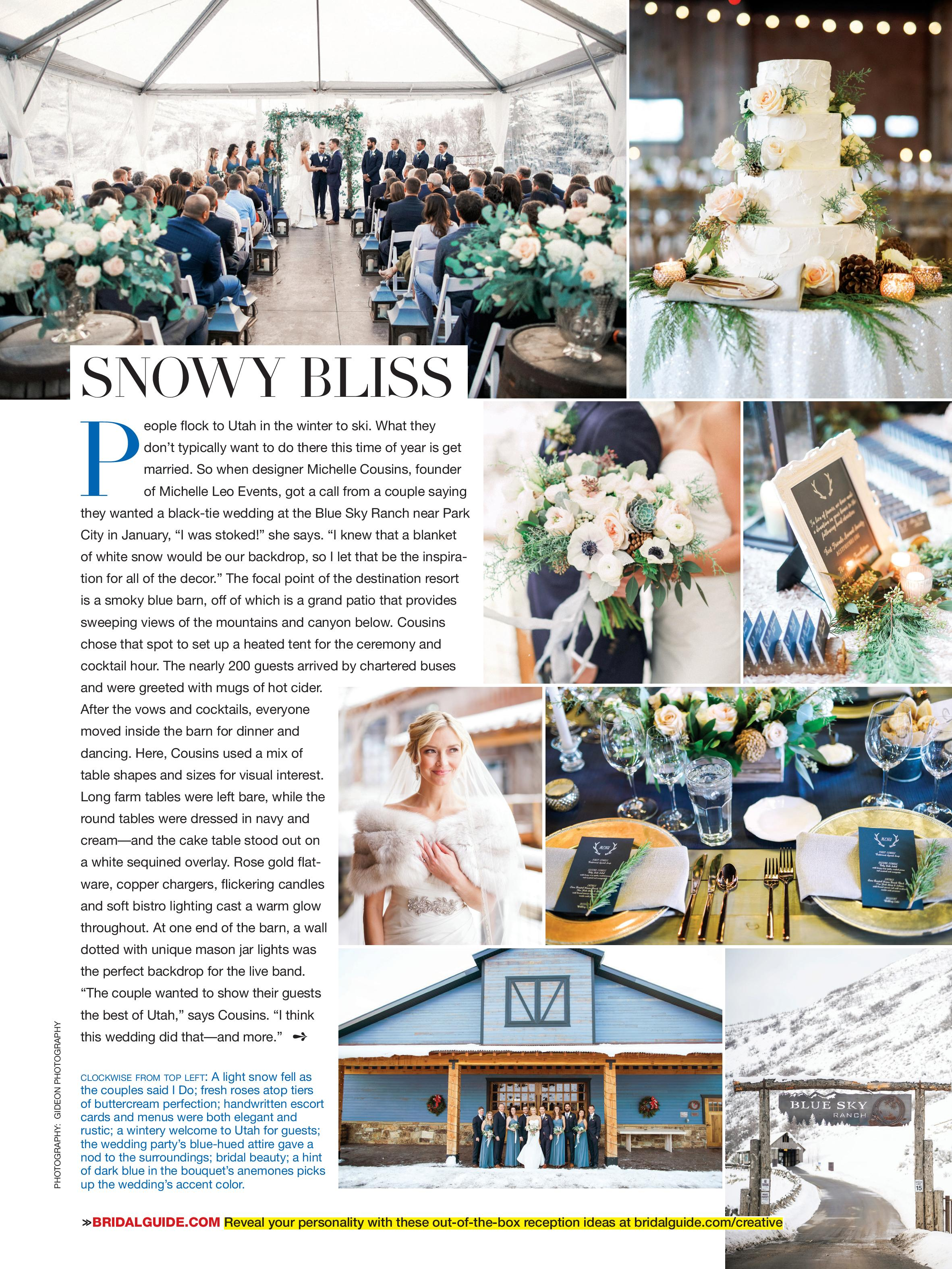 MLE Featured in Bridal Guide Magazine | Winter Ranch Wedding | Fairytale Wedding | Michelle Leo Events | Utah Event Planner and Designer | Gideon Photography