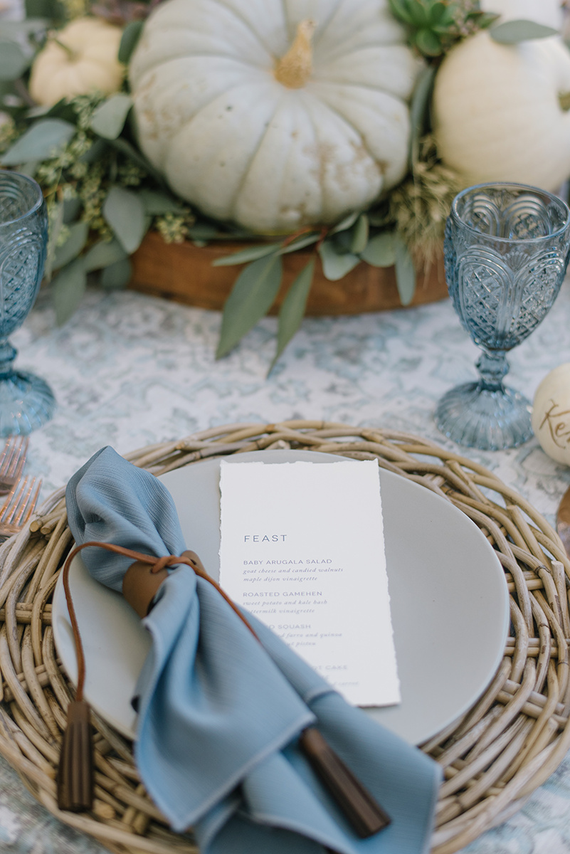 Harvest Inspired Thanksgiving Table | Thanksgiving Decor | Dusty Blue and Gray Thanksgiving | Pumpkin Decor | Michelle Leo Events | Utah Event Planner and Designer | Heather Nan Photography