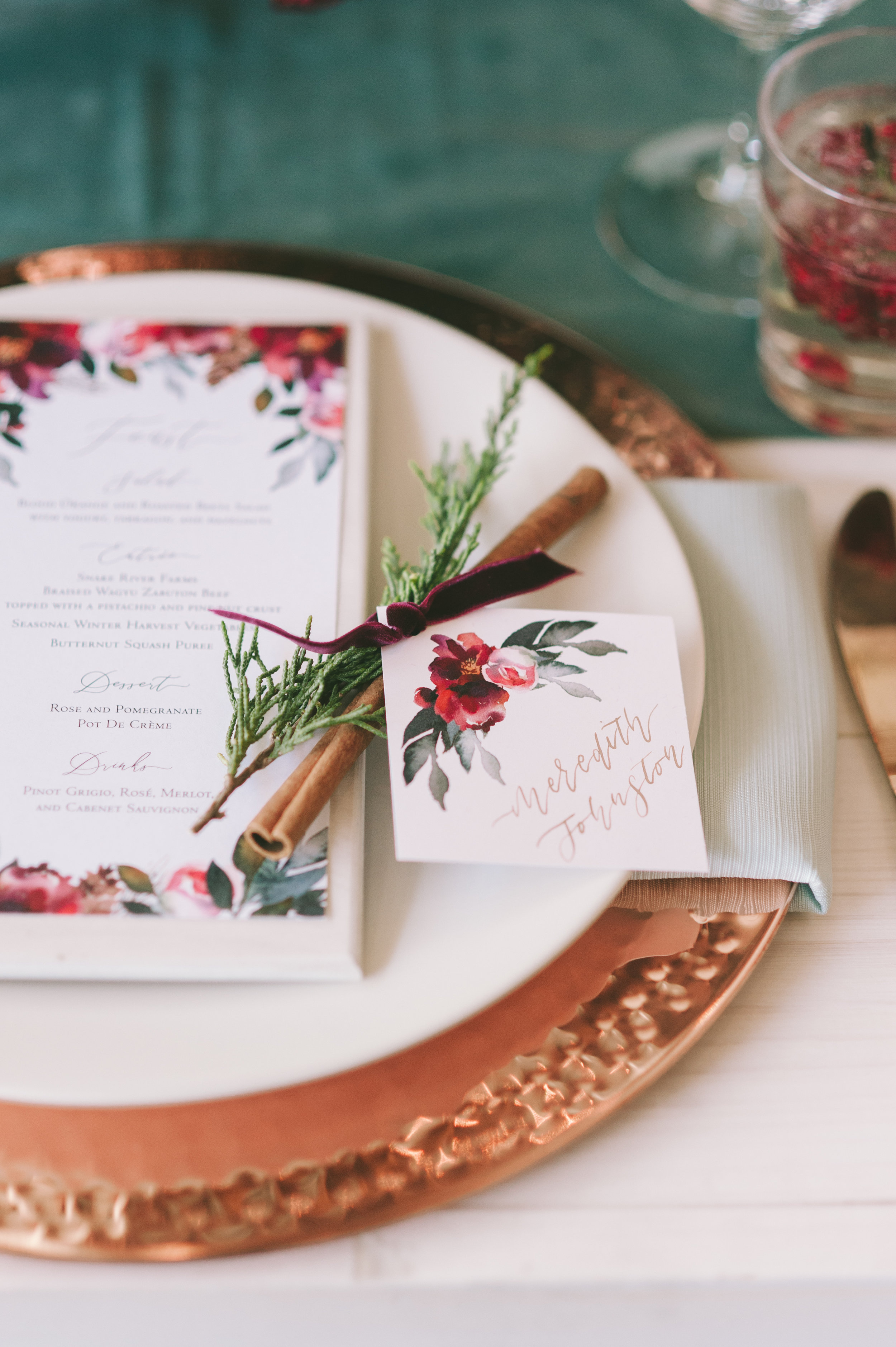 Winter Event Decor | Holiday Party Ideas | Burgundy Table Decor | Michelle Leo Events | Utah Event Planner and Designer | Rebekah Westover Photography