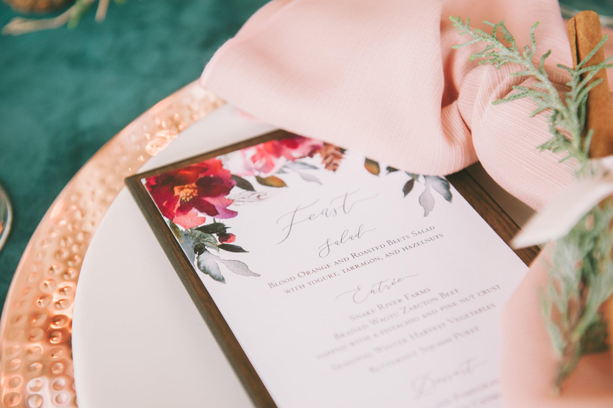 Winter Wedding Inspiration | Burgundy Wedding | Emerald Green Decor | Utah Bride & Groom Magazine | Michelle Leo Events | Utah Event Planner and Designer | Rebekah Westover Photography