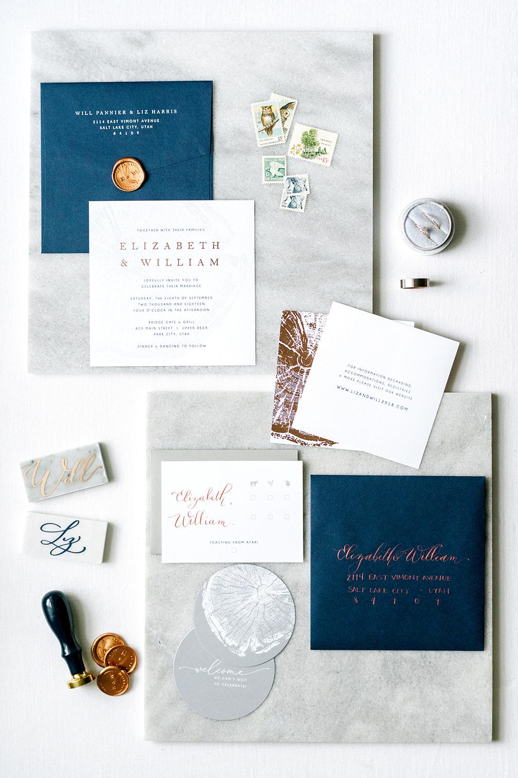 Park City Main Street Wedding | Modern Wedding Design | Navy Wedding Details | Outdoor Wedding | Michelle Leo Events | Utah Event Planner | Heather Nan Photography