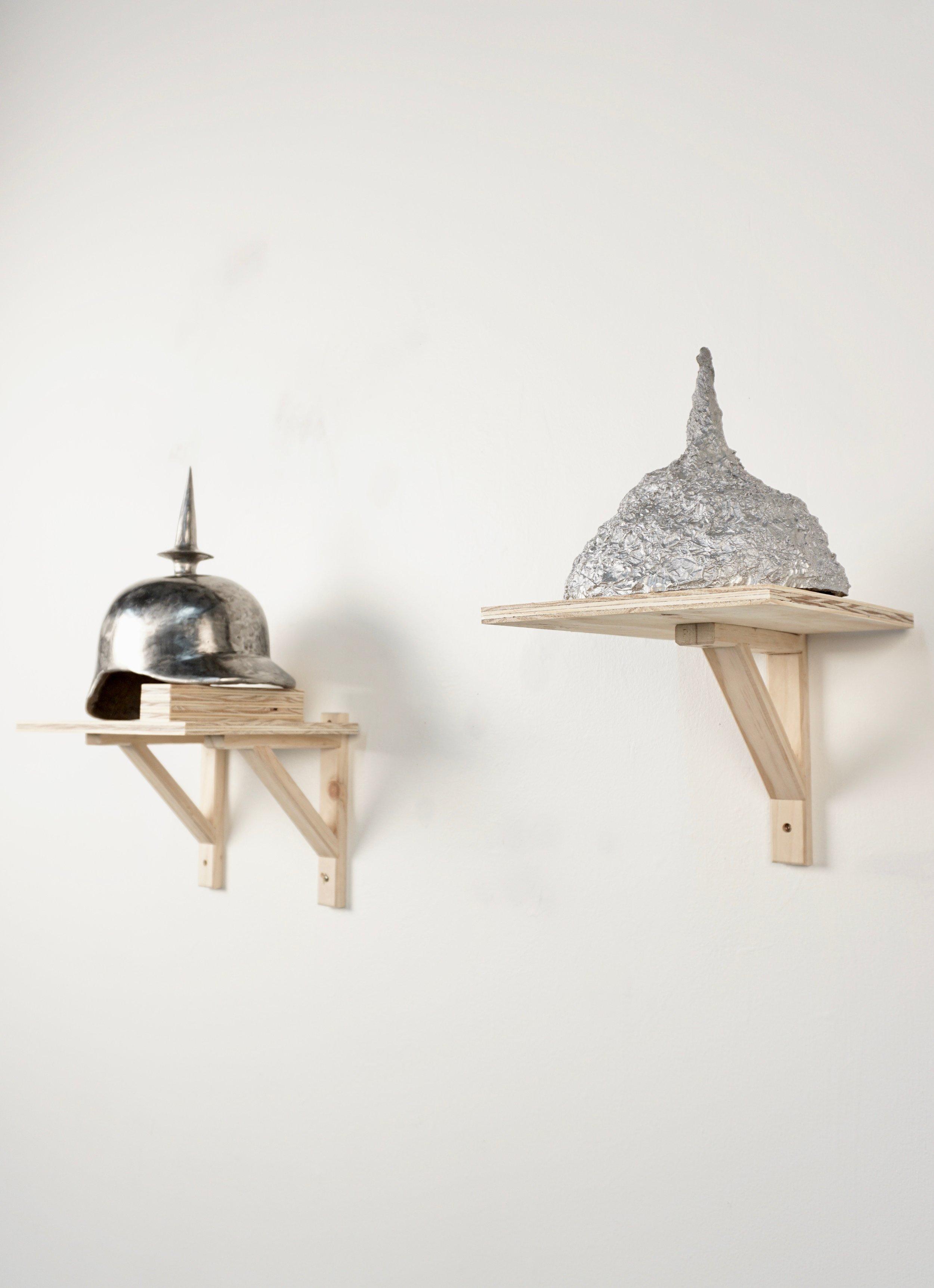 conspiracy theorie art sculpture cast aluminum tin foil hat.jpg