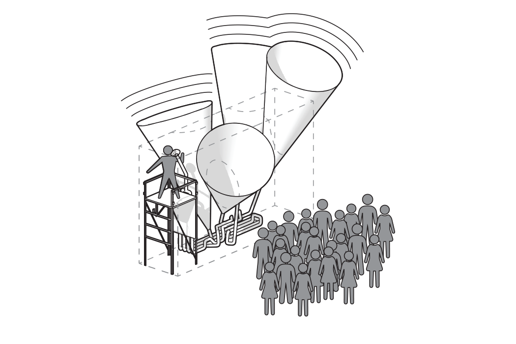 …then something more is needed to communicate to a larger audience. The idea of single speaker is amplified by growing, duplicating, and interconnecting four speaker cones from a single source.
