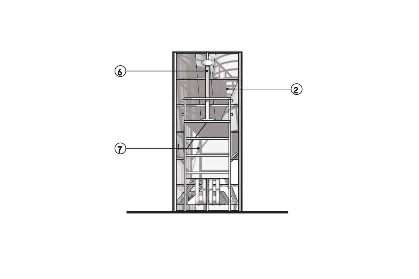 """Elevation 2  1.  Black perforated corrugated aluminum cladding  2.  Painted styrene cones  3.  Shoulder screw connectors  4.  1.5"""" Wood grid framing  5.  Painted PVC pipe  6.  Mouthpiece  7.  Existing lifeguard stand."""