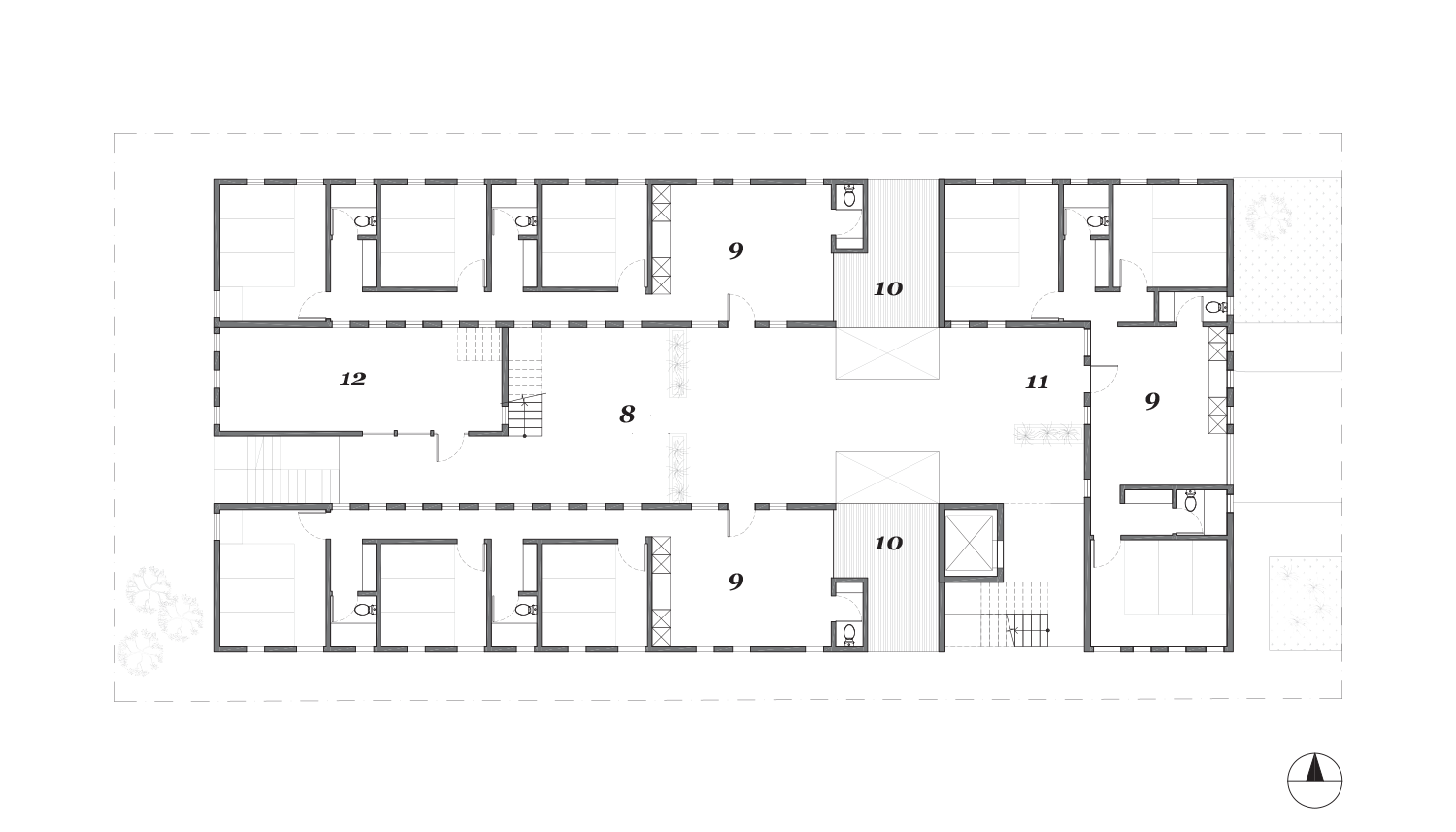 Level 02   1.  Lobby  2.  Parking  3.  Laundry  4.  Trash  5.  Mechanical  6.  Storage  7.  Dog Run  8.  Social Courtyard  9.  3br Unit  10.  Private Patio  11.  Semi-private Porch  12.  Recording Studio  13.  Entertainment Kitchen  14.  Co-working Space  15.  Roof Deck
