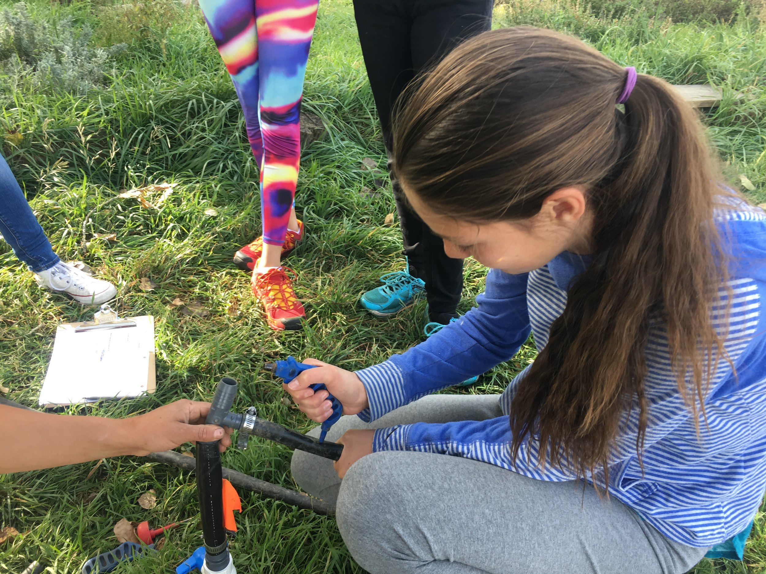 For science, while studying climate change and sustainable energy, in the fall of 2017 the middle school is building an irrigation system for the Nature Park. In this way they don't just learn about a topic, they put it into real life application.