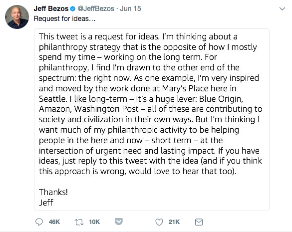 The now-famous Jeff Bezos call for ideas