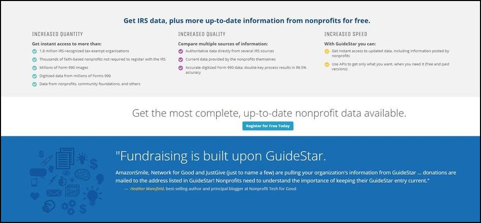 GuideStar is an authoritative resource and donor prospecting tool for smart researchers.