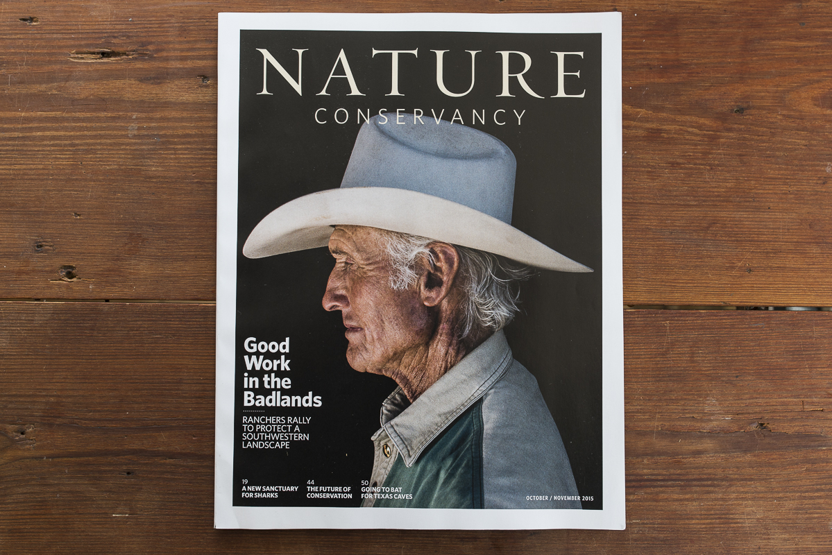 Warner Glenn on the cover The Nature Conservancy Magazine for a story on the Malpai Borderlands Group