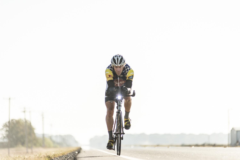 Kurt Searvogel on his bike cruising the country roads east of Little Rock, AR.