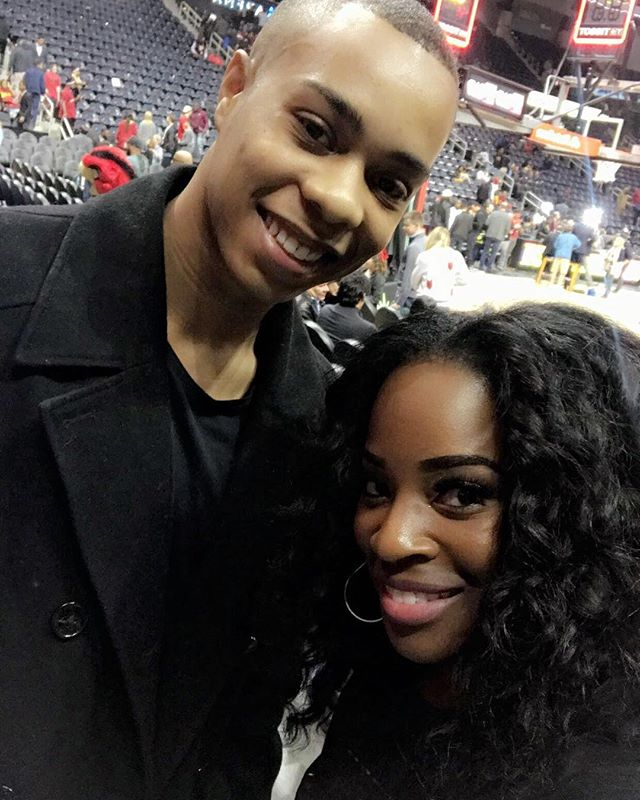 Aaaaaah my Ty-Baby @__relyt is home from college and came to hang out with me at last nights @atlhawks game! Love you! #cutenephew #homefortheholidays We stay lit!🔥💃🏾😜