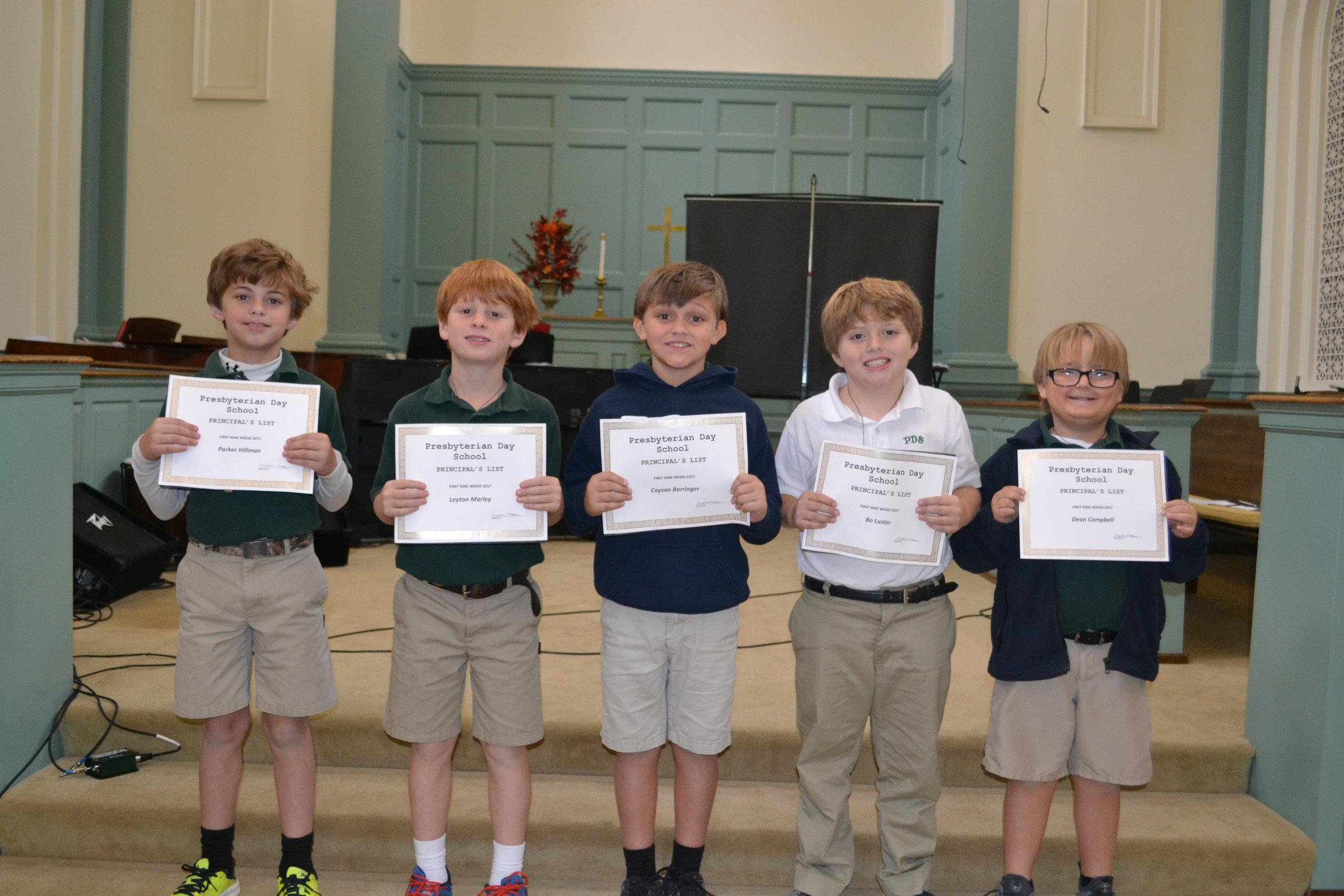 3rd grade principal's list