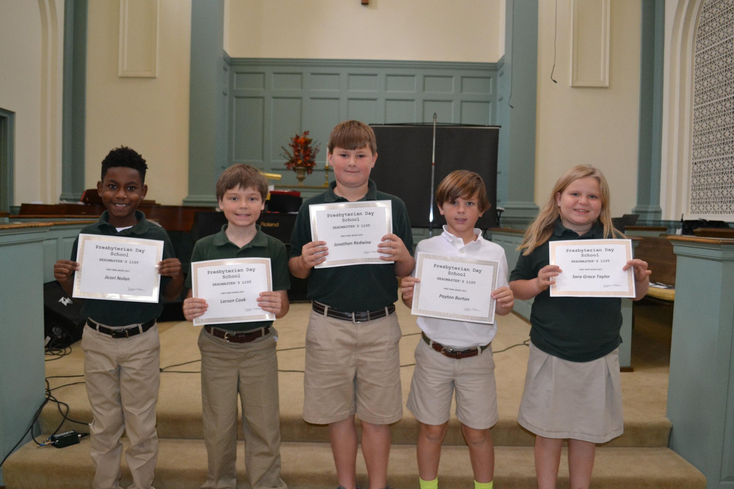 4th grade headmaster's list