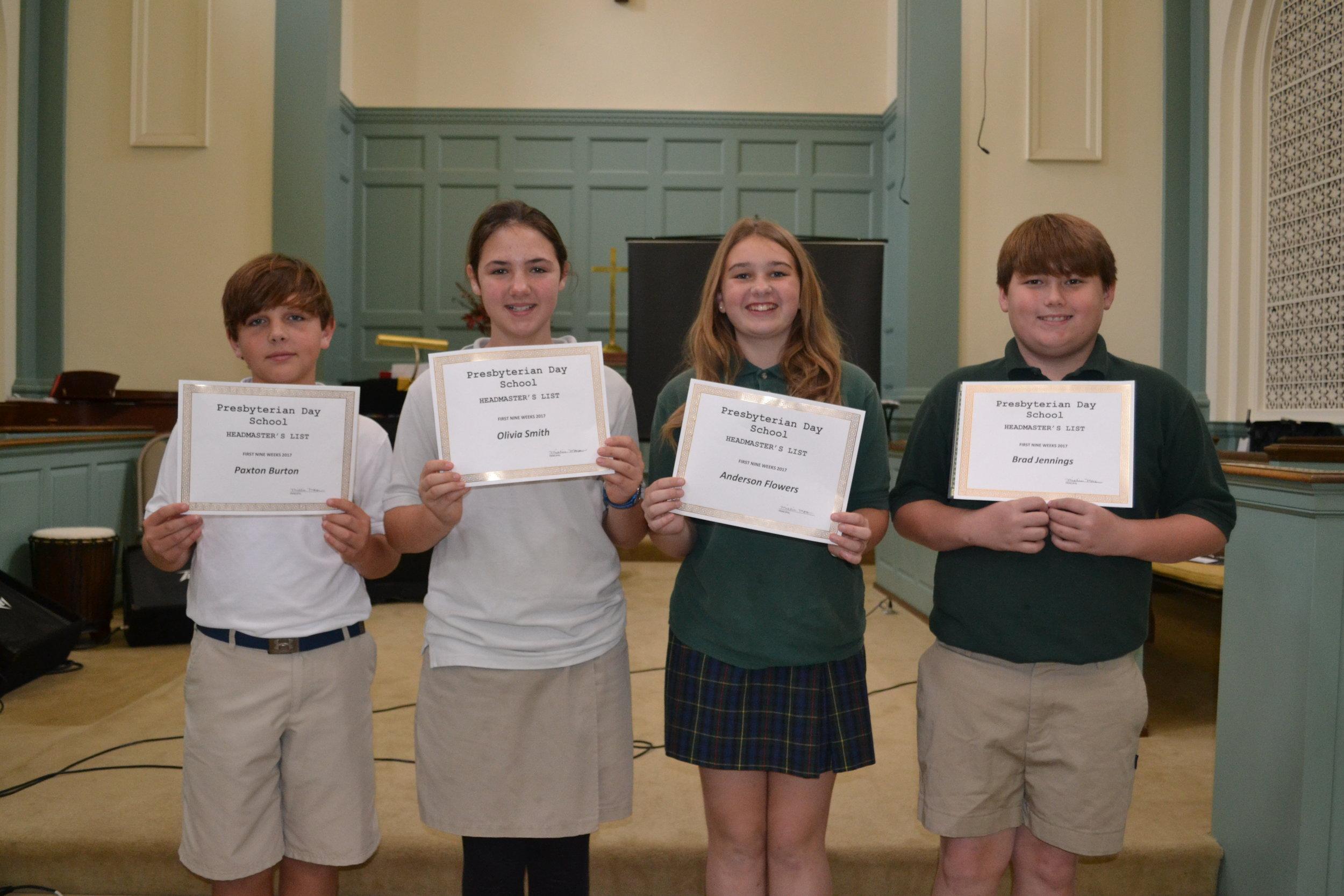 6th grade headmaster's list