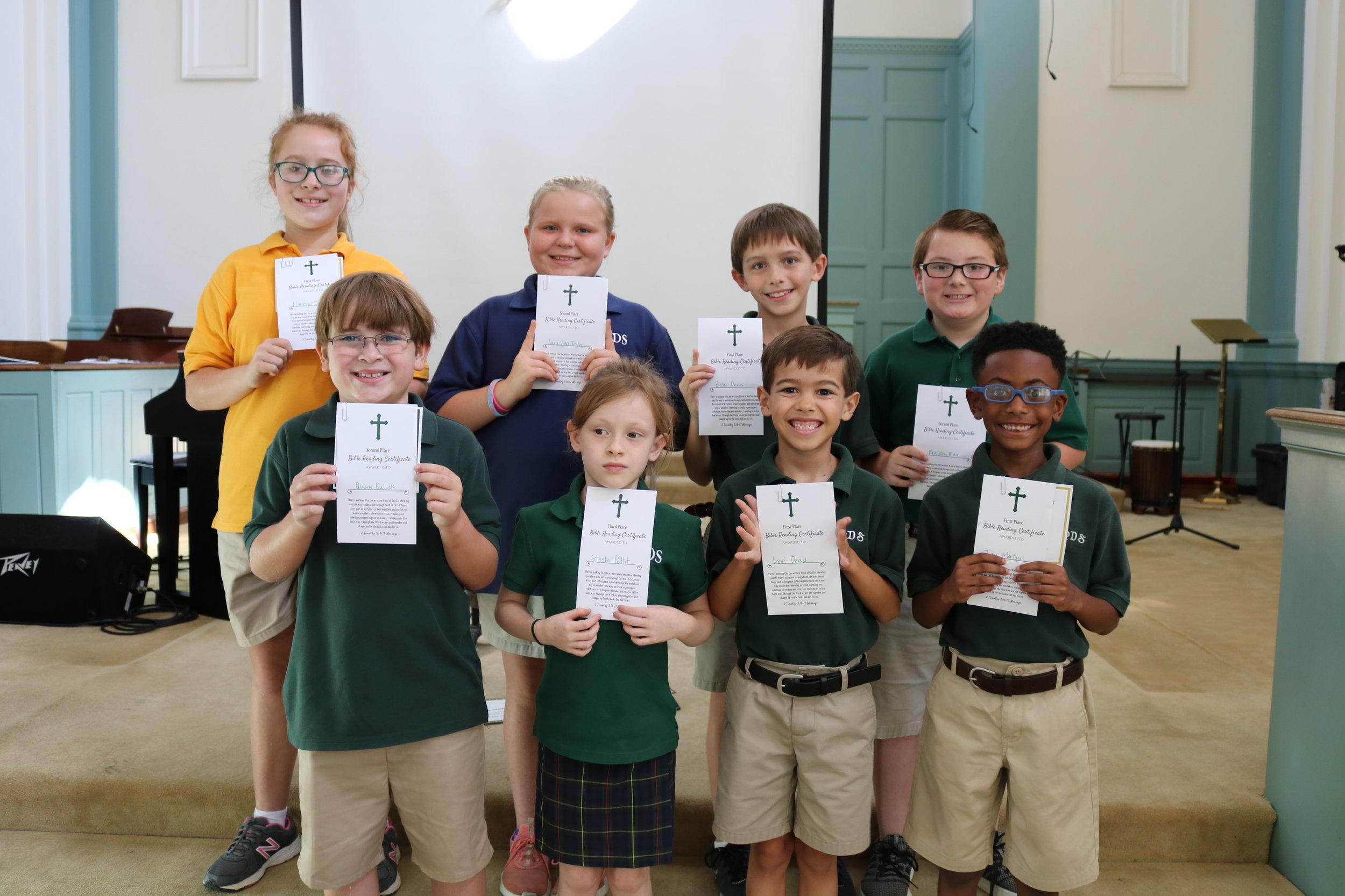 summer Bible reading award winners