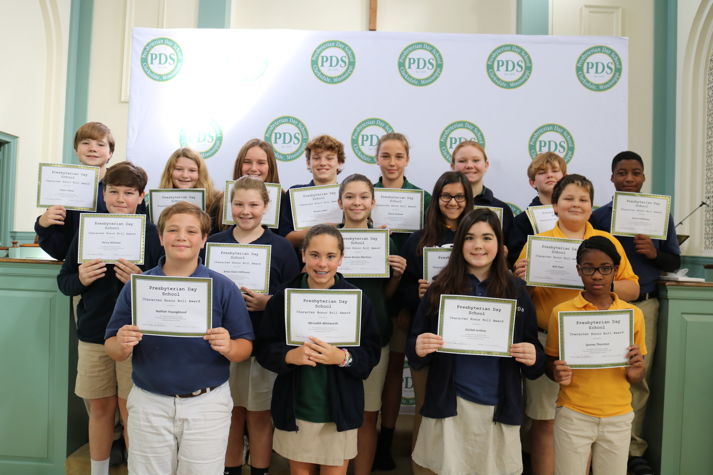 6th grade character honor roll