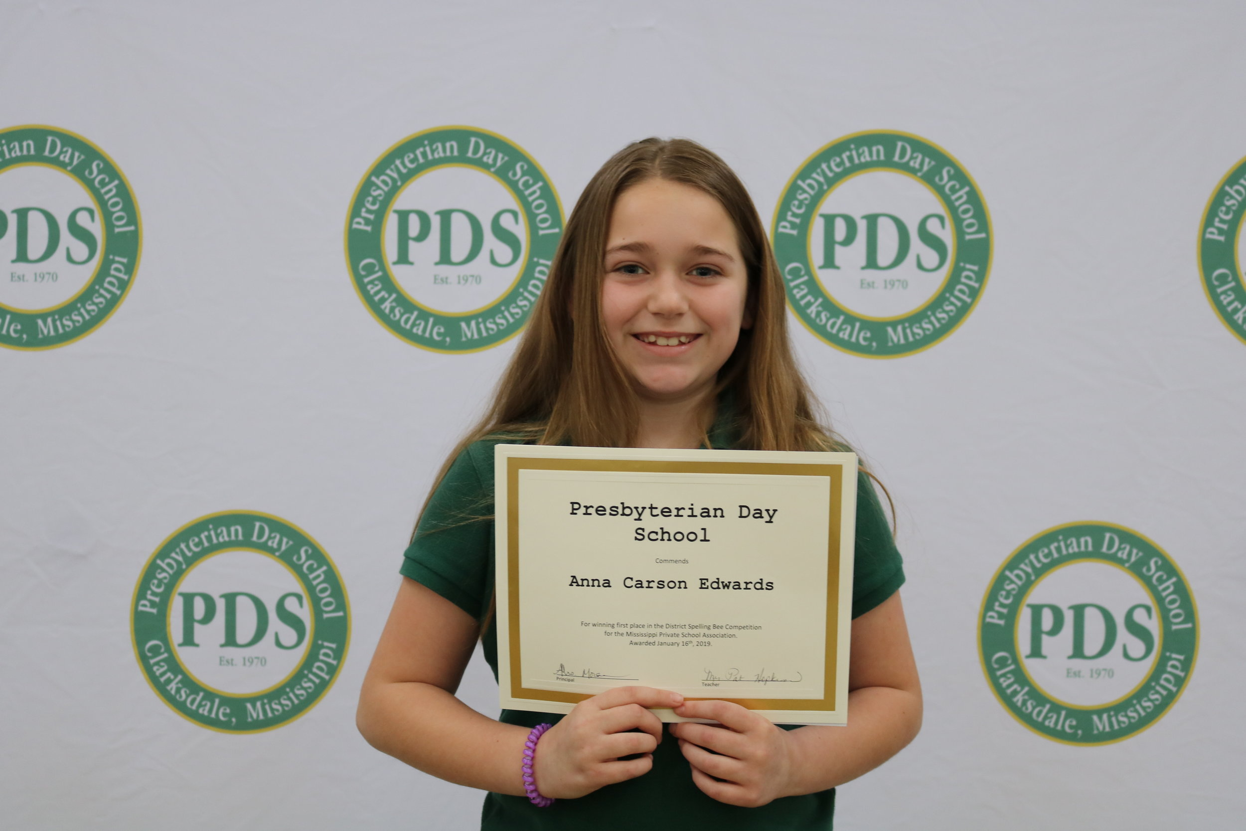 District spelling bee 1st place winner - Anna Carson Edwards