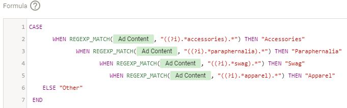 Here's what the case function does. If the Ad content field contains 'accessories', it will classify all such ad content as 'Accessories'.