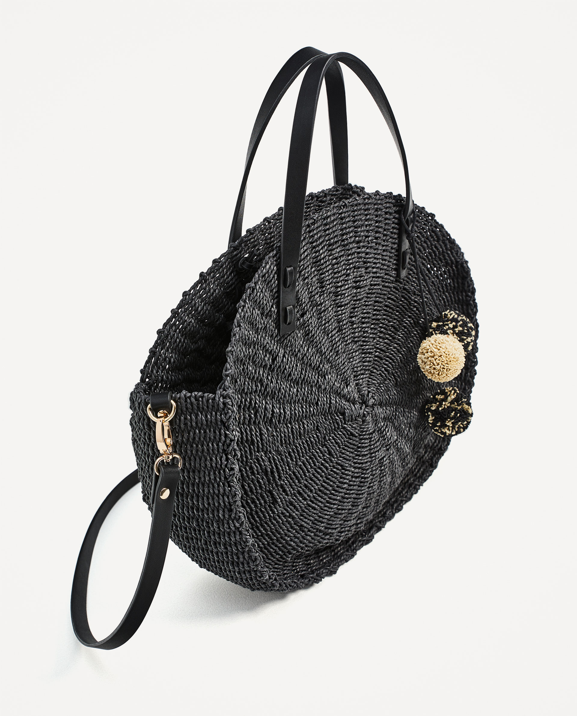 Braided Tote Bag with pom-poms, $49.90