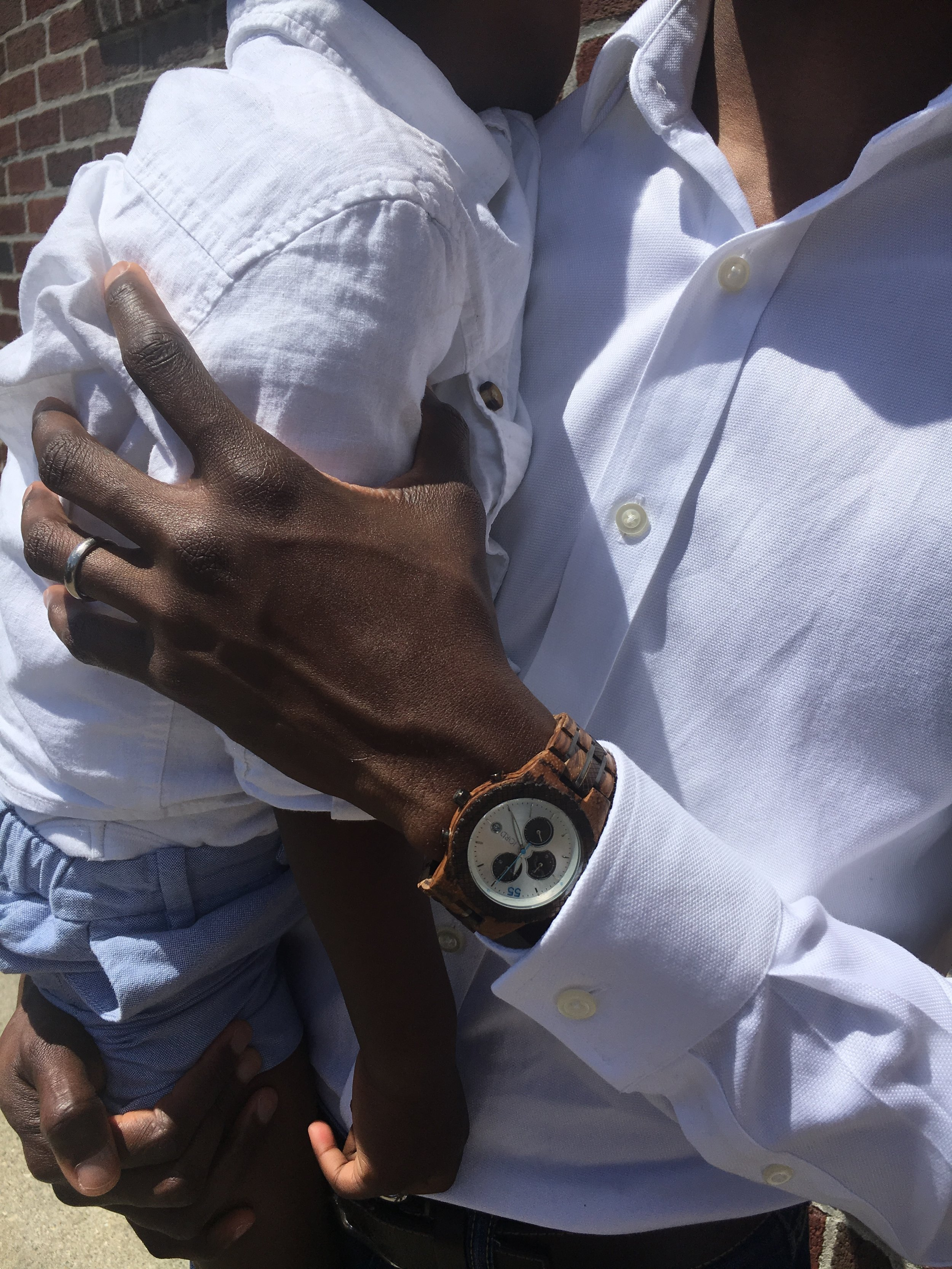 The white face on this watch really helps it stand out against his skin tone. You can buy it  here .