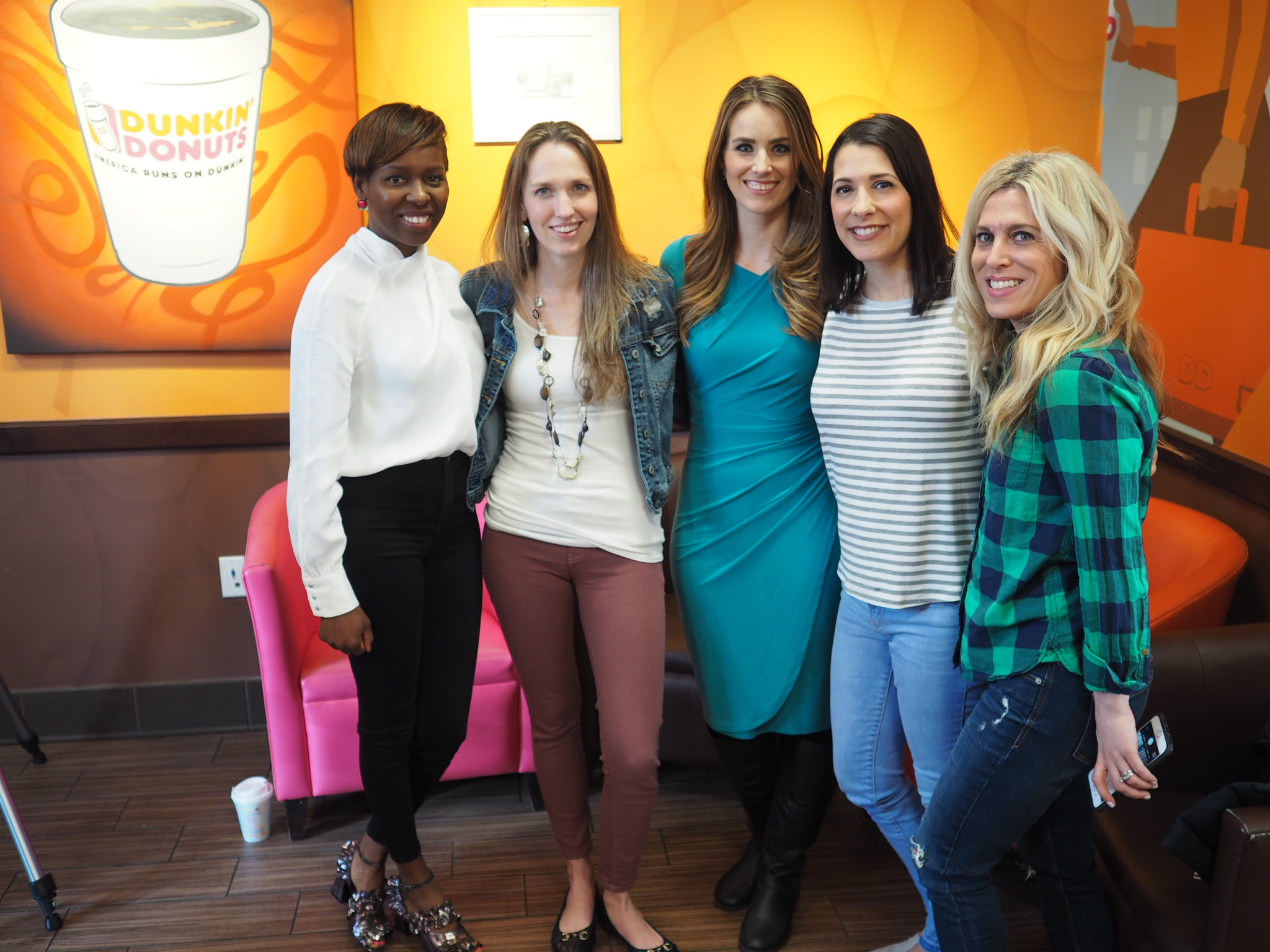 (l-r Tracy from  Providence Moms Blog ,Michaela Johnson, Courtney from  Mod Mommy and Audrey from  Mom Generations.