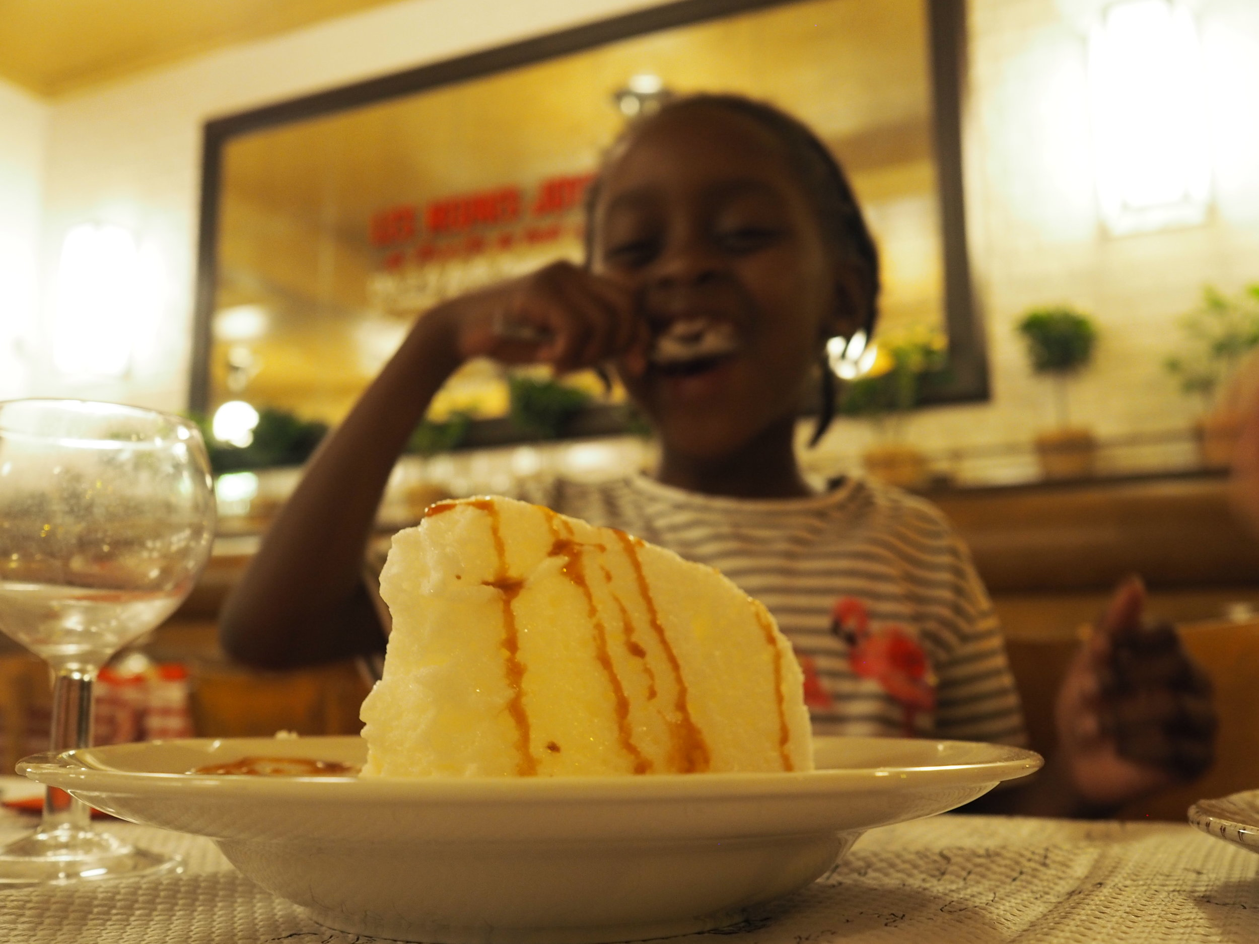 the only thing that would've topped morayo-hope's joy in this moment of eating this dessert is if a unicorn flew out of it.
