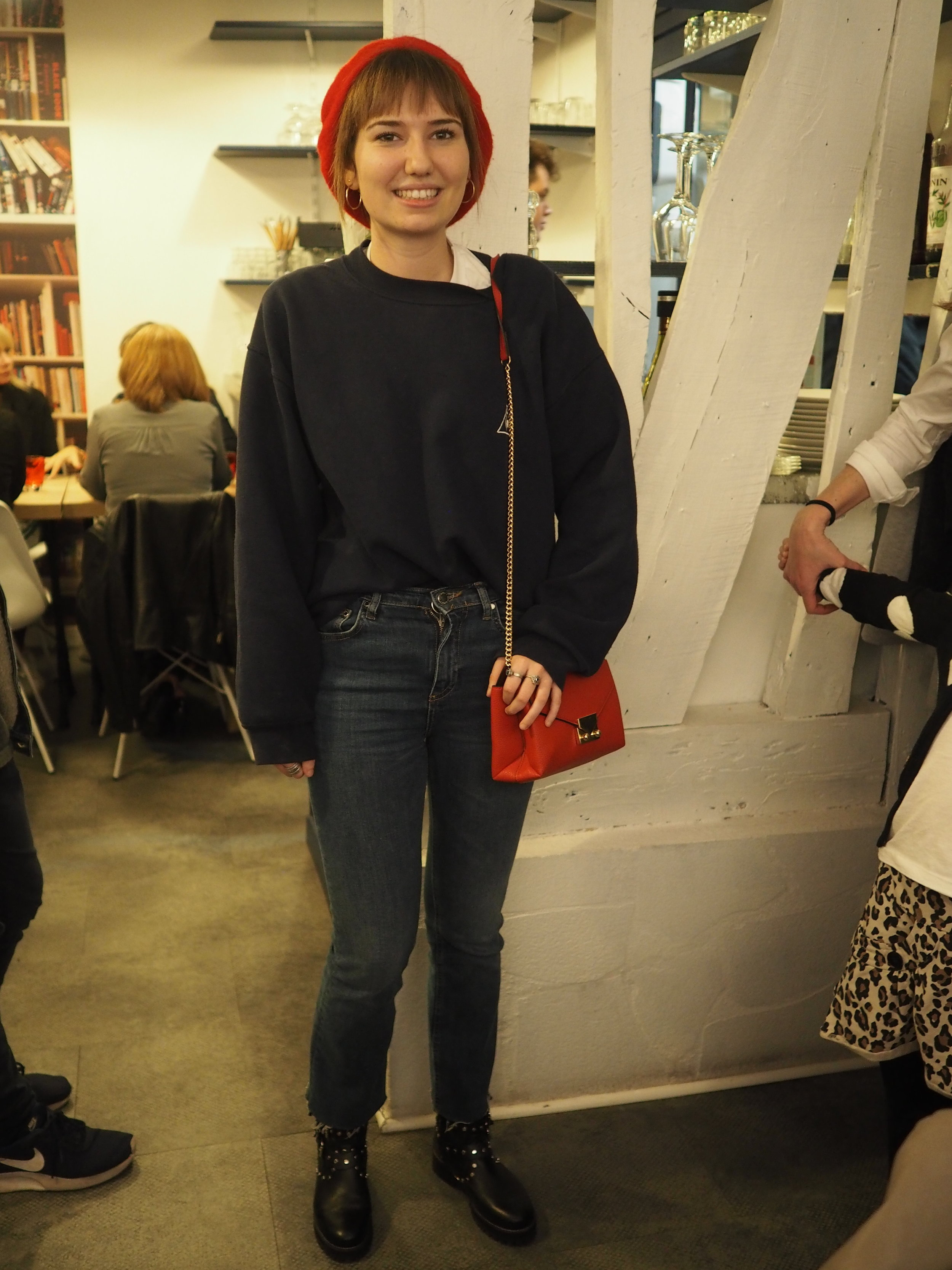 this is actually Alicia's friend's daughter whose dad owns the restaurant we visited on day 3. she was off to a concert.  monochrome with a pop of red - check! lets not miss the cropped frayed jeans and, not only that, does anything say French more than a beret? I didn't think so!