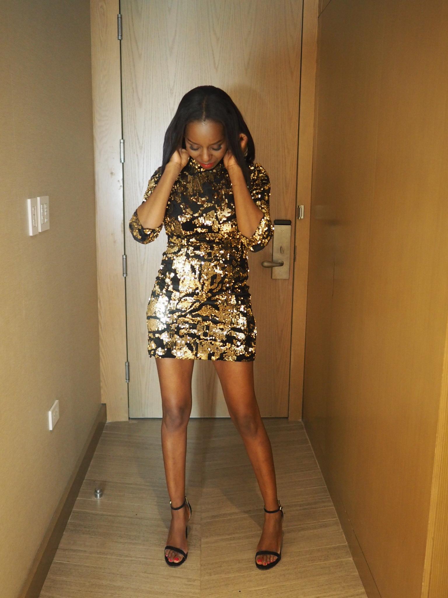 Zara Gold Sequin Dress, Sam Edelman Shoes, Centre Part Bob Hairstyle