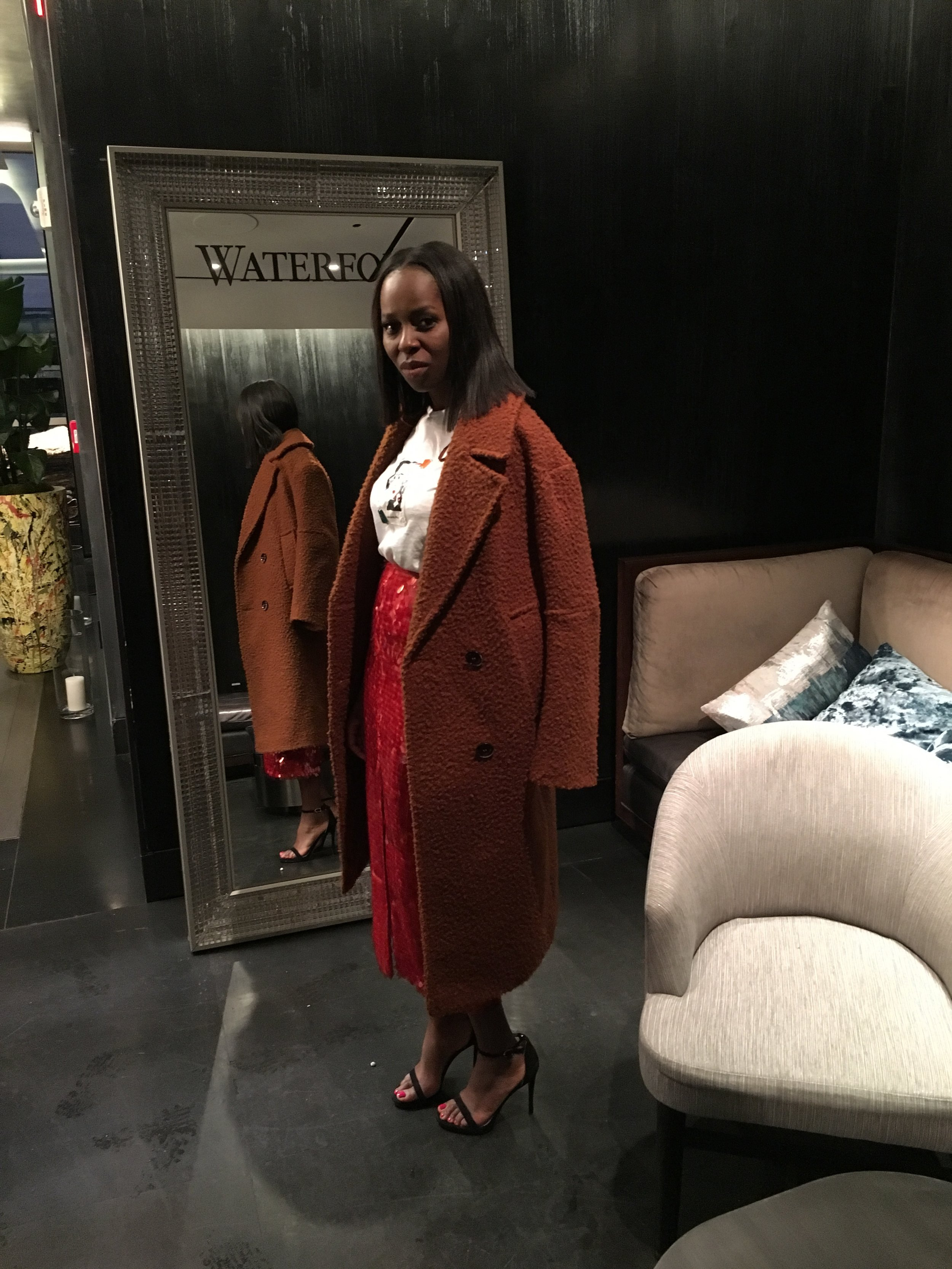 Zara Red sequin skirt outfit, zara graphic tshirt,Topshop oversized Coat, Sam Edelman Sandals