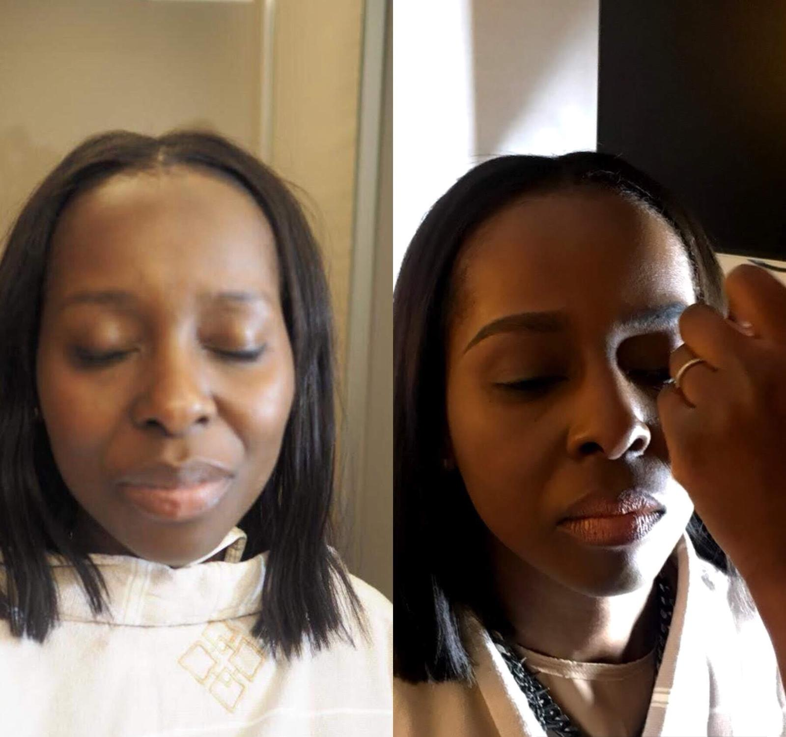 Before and After Dark Skin Make-Up Look