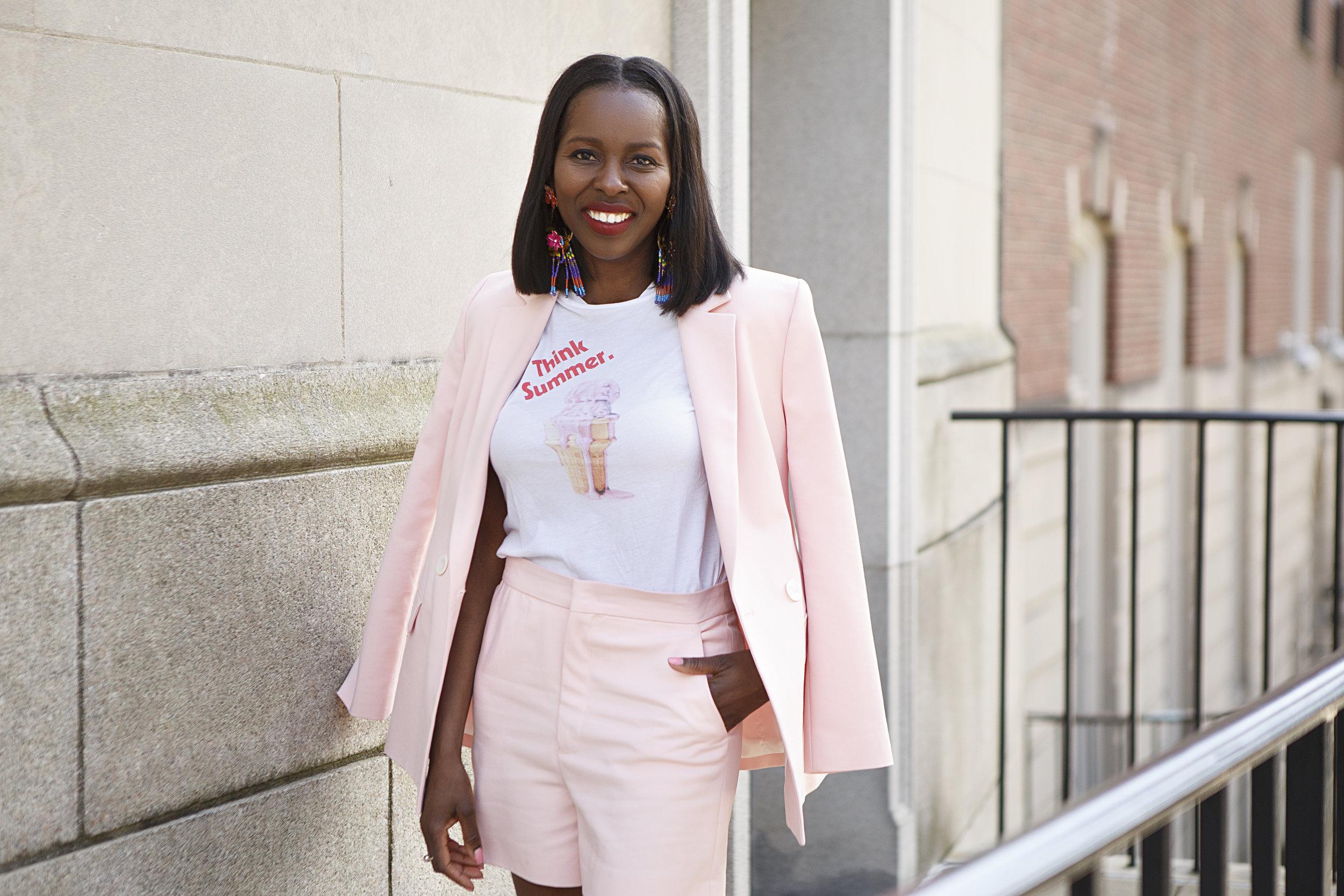 zara pink short suit, madewell tshirt