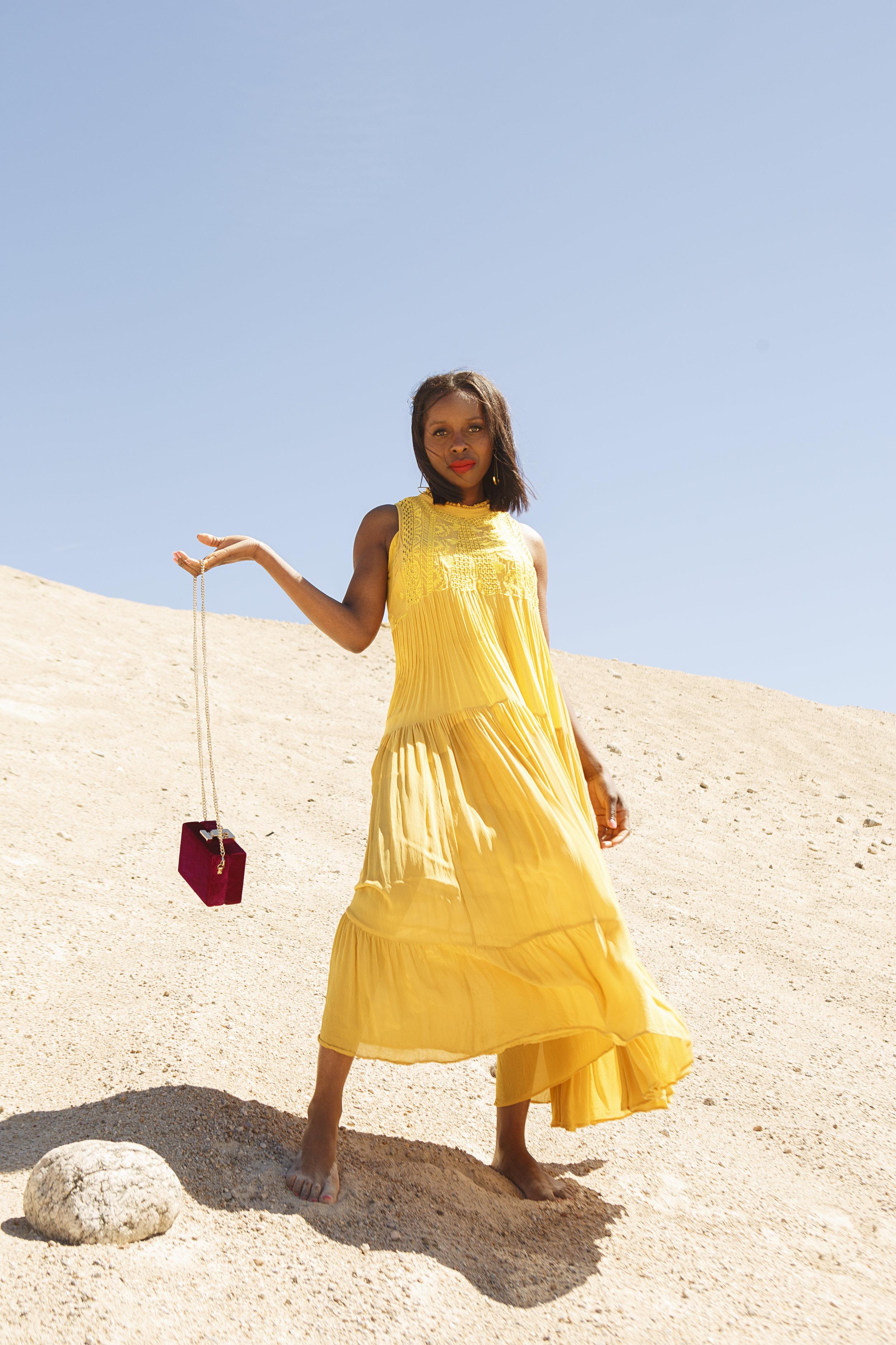 Free People Yellow Maxi Dress & Mango Pink Velvet box bag