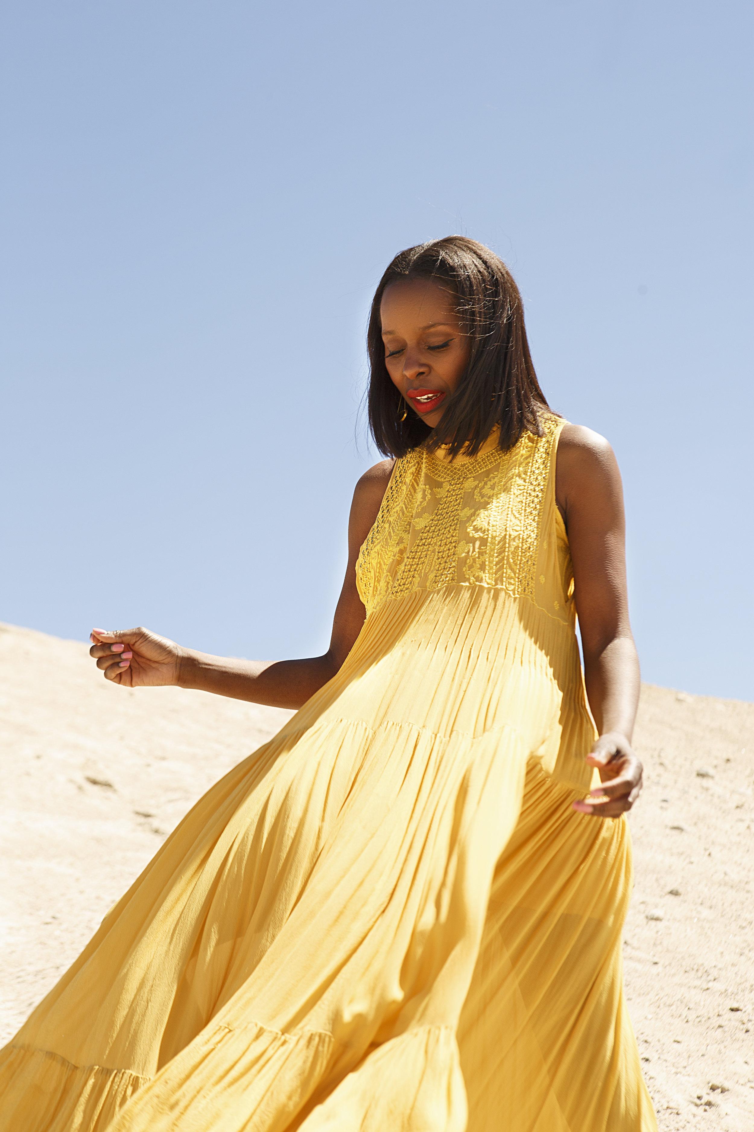 Free People Yellow Maxi Dress