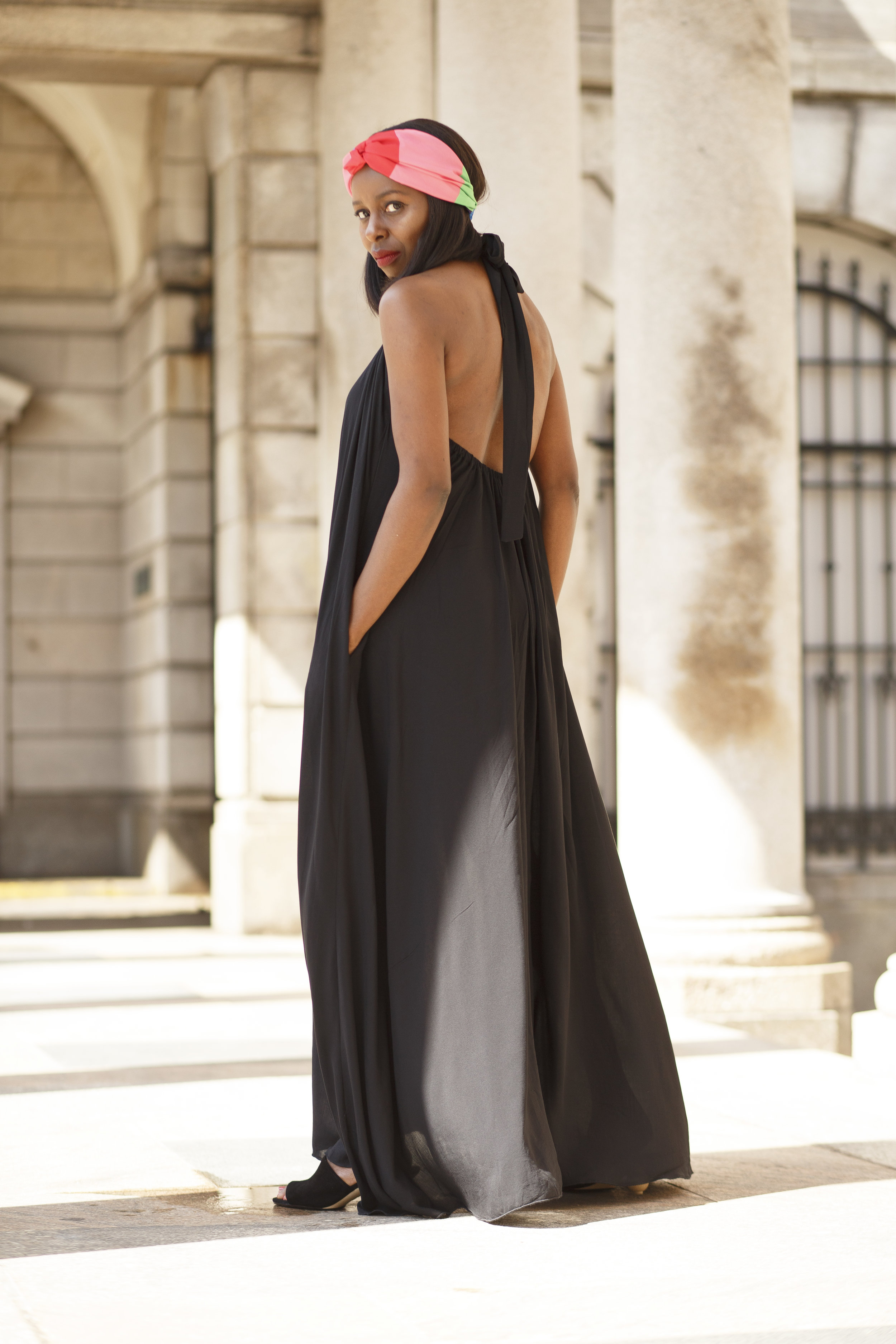Black Backless Maxi Dress, Zara Mules & Head Band