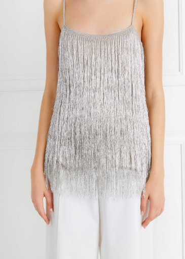 Rachel Zoe Metallic Fringe Top