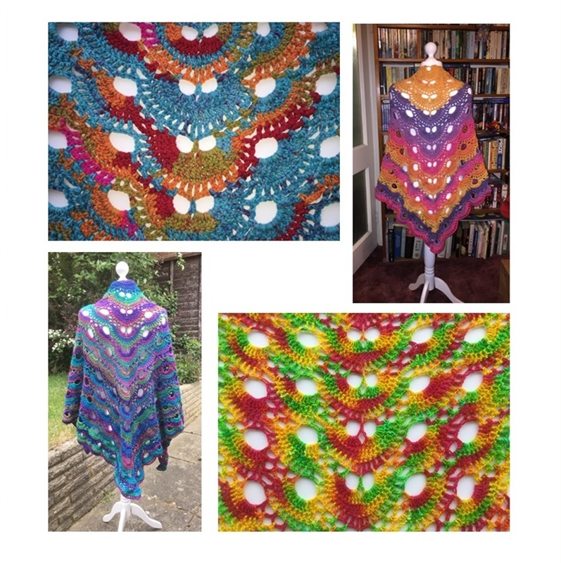 Here are four shawls I've made from four different brands and yarn types.