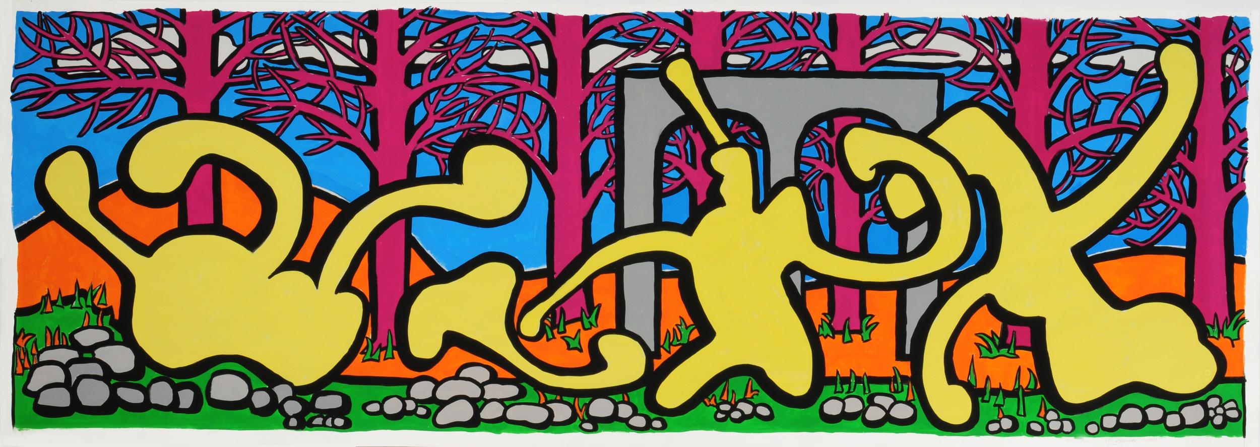 "Visitors III , 36"" x 102"", gouache,2011"